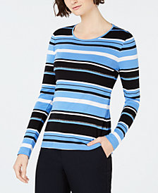 Charter Club Cotton Striped Long-Sleeve T-Shirt, Created for Macy's