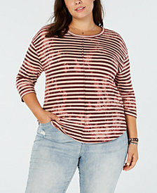 Lucky Brand Trendy Plus Size Striped T-Shirt
