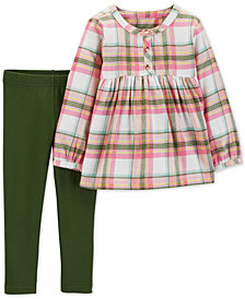 Carter's Baby Girls 2-Pc. Plaid Flannel Tunic & Leggings Set