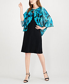 Connected Floral Chiffon Cape Dress
