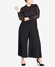 City Chic Trendy Plus Size Wide-Legged Cropped Pants