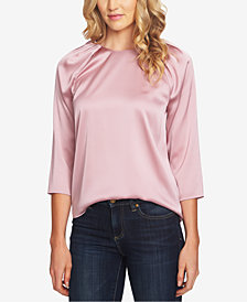 CeCe Pleated-Neckline Blouse