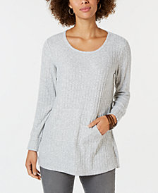 Style & Co Ribbed Pocket-Front Tunic, Created for Macy's