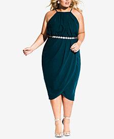 City Chic Plus Size Belted Faux-Wrap Dress