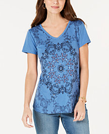 Style & Co Petite Printed Sequin-Embellished T-Shirt, Created for Macy's