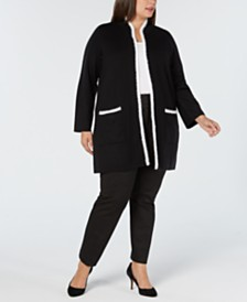 Alfani Plus Size Sweater Jacket, Created for Macy's