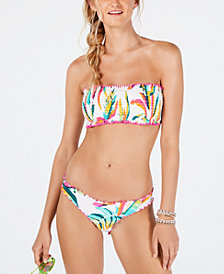 Hula Honey Palm Pop Printed Smocked Bandeau Bikini Top, Available in D/DD & Palm Pop Printed Cheeky Hipster Bikini Bottoms, Created for Macy's