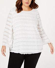 Alfani Plus Size Fringe-Stripe Top, Created for Macy's