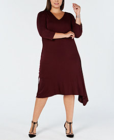 I.N.C. Plus Size Asymmetrical-Hem A-Line Dress, Created for Macy's