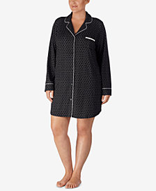DKNY Plus Size Printed Shirt Collar Sleepshirt