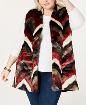 Joseph A Plus Size Faux-Fur Patchwork Vest - Wine