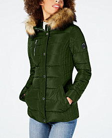 Nautica Faux-Fur-Trim Hooded Puffer Coat