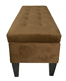 Brooke 10 Button Tufted Ennis Long Storage Bench Ottoman