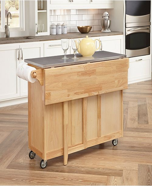 Natural Breakfast Bar Kitchen Cart with Stainless Steel Top