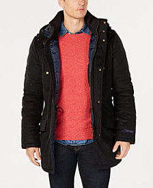 Tommy Hilfiger Men's Modern-Fit Pilot Charcoal Tic Overcoat