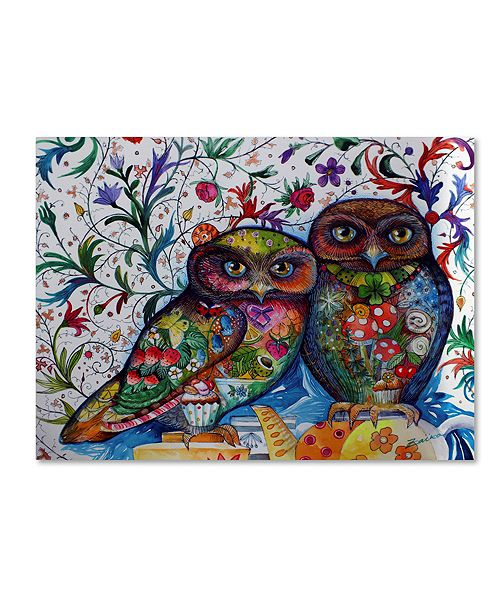 "Trademark Global Oxana Ziaka 'Middle Ages Owls' Canvas Art - 19"" x 14"" x 2"""