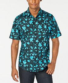 Alfani Men's Painterly Floral Stripe-Print Shirt, Created for Macy's