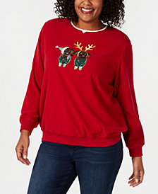 Alfred Dunner Plus Size Classics Puppies Layered-Look Holiday Sweatshirt
