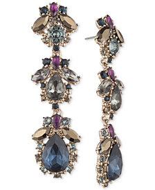 Marchesa Gold-Tone Stone & Crystal Linear Drop Earrings