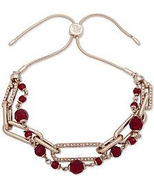 Lauren Ralph Lauren Silver-Tone Bead & Crystal Layered Slider Bracelet