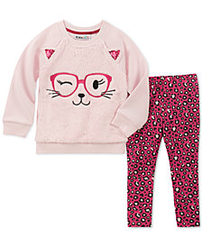 Kids Headquarters Baby Girls 2-Pc. Faux-Fur Cat Top & Animal-Print Leggings Set