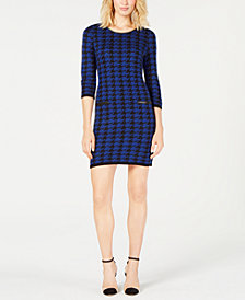 NY Collection Petite Jacquard Houndstooth-Print Dress