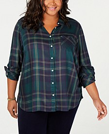 Plus Size Plaid Roll-Tab Shirt