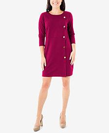 NY Collection Petite Side-Button Ponté-Knit Dress