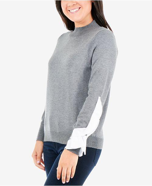 NY Collection Petites Ruffle-Sleeve Sweater