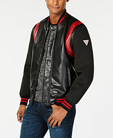 GUESS Men's Colorblocked Mix-Media Faux-Leather Logo Bomber Jacket