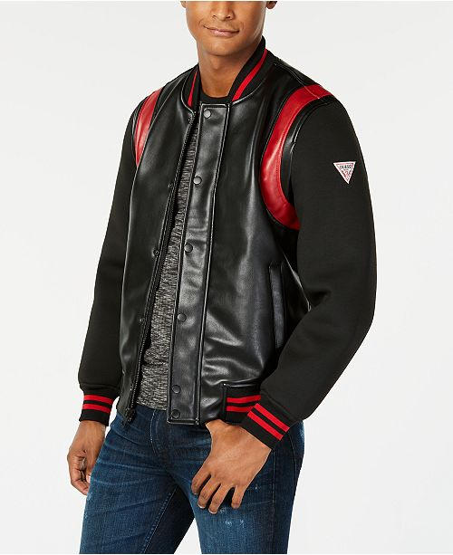 a343c47a0 GUESS Men's Colorblocked Mix-Media Faux-Leather Logo Bomber ...