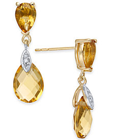 Citrine (4-1/2 ct. t.w.) & Diamond Accent Drop Earrings in 14k Gold