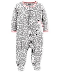Carter's Baby Girls Floral-Print Unicorn Footed Coverall