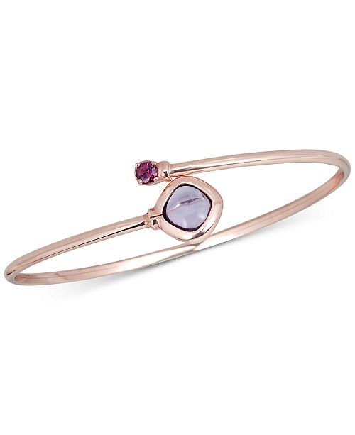 Macy's Multistone (1-1/3 ct. t.w.) Bangle Bracelet in 14k Rose Gold over Sterling Silver(Also Available in Blue Topaz)