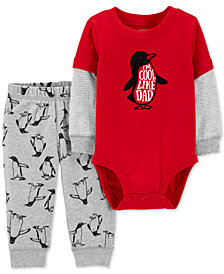Carter's Baby Boys 2-Pc. Cool Like Dad Bodysuit & Penguin-Print Jogger Pants Set