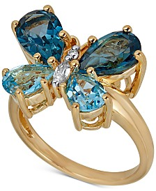 Multi-Gemstone (4-1/5 ct. t.w.) Butterfly Ring in 14k Gold-Plated Sterling Silver(Also Available In Amethyst & Blue Topaz)