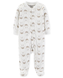Carter's Baby Boys & Girls Lamb-Print Footed Fleece Coverall