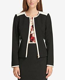 Calvin Klein Contrast-Trim Zip-Front Blazer