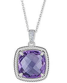 """Blue Topaz (10 ct. t.w.) & Diamond Accent Necklace in Sterling Silver, 16"""" + 2"""" Extender (Also Available in Smoky Quartz, Amethyst & Prasiolite)"""