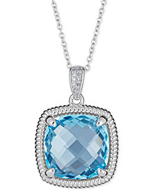 "Blue Topaz (10 ct. t.w.) & Diamond Accent Necklace in Sterling Silver, 16"" + 2"" Extender (Also Available in Smoky Quartz, Amethyst & Mystic Topaz)"