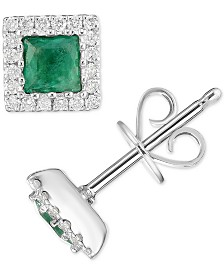 Emerald (5/8 ct. t.w.) & Diamond (1/5 ct. t.w.) Square Stud Earrings in 14k White Gold