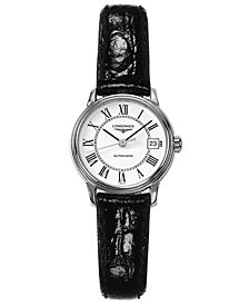 Longines Watch, Women's Swiss Automatic Presence Black Leather Strap L43214112