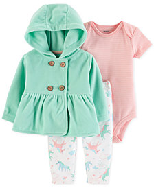 Carter's Baby Girls 3-Pc. Hooded Jacket, Bodysuit & Pants Set