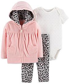 Carter's Baby Girls 3-Pc. Hearts Hoodie, Bodysuit & Pants Set