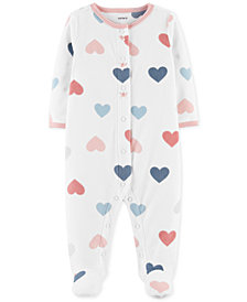 Carter's Baby Girls 1-Pc. Heart-Print Footed Coverall
