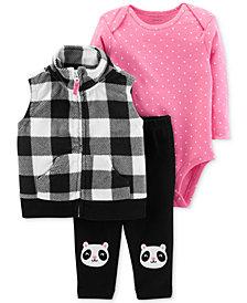 Carter's Baby Girls 3-Pc. Fleece Vest, Bodysuit & Pants Set