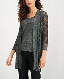 Kasper Crocheted Metallic Cardigan