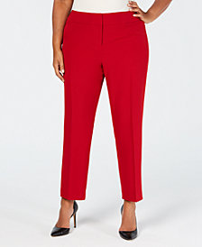 Kasper Plus Size Stretch Crepe Slim-Leg Pants