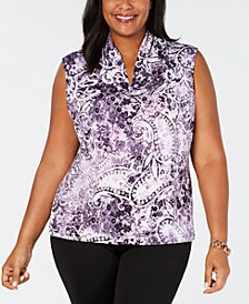 Nine West Plus Size Printed Inverted-Pleat Top