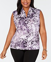 3f3ab416d84 Nine West Plus Size Printed Inverted-Pleat Top